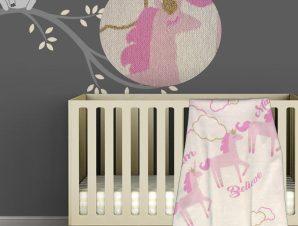 Κουβέρτα Πλεκτή Αγκαλιάς Morven Unicorn Pink 1818