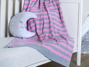 Κουβέρτα Πλεκτή Κούνιας Loom To Room Olaf Pink/Grey