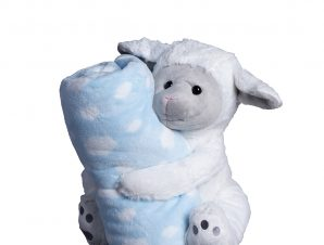 Κουβέρτα Fleece Αγκαλιάς + Λούτρινο Silk Fashion Sheep Blue