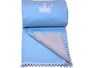 Κουβερλί Μουσελίνα Λίκνου Morven Lolly 1904 Blue