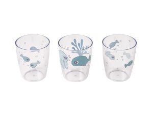 Ποτήρια (Σετ 3τμχ) Done By Deer Yummy Mini Sea Friends Blue BR75273