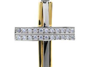 Σταυρός 14Κ από Χρυσό και Λευκόχρυσο SVK2522