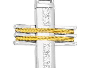 Σταυρός 14Κ από Χρυσό και Λευκόχρυσο SVK568