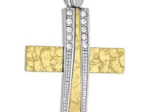 Σταυρός 14Κ από Χρυσό και Λευκόχρυσο SVK859