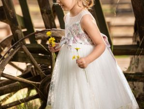 Vinte Li Φόρεμα Βάπτισης Ροζ-Ιβουάρ 2910