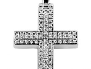Σταυρός 14Κ από Λευκόχρυσο με Ζιργκόν SIO50011