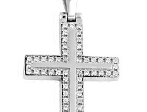 Σταυρός 14Κ από Λευκόχρυσο με Ζιργκόν SIO50311Β