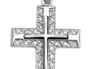 Σταυρός 14Κ από Λευκόχρυσο με Ζιργκόν SIO50911