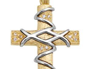 Σταυρός 14Κ από Χρυσό & Λευκόχρυσο με Ζιργκόν SIO51511