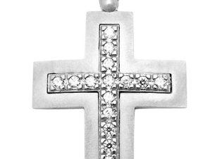 Σταυρός 14Κ από Λευκόχρυσο με Ζιργκόν SIO51812