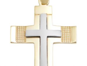 Σταυρός 14Κ από Λευκόχρυσο και Χρυσό SIO52011