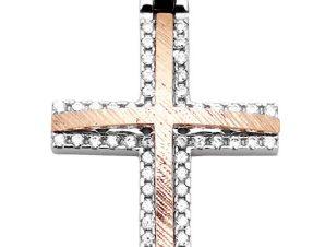 Σταυρός 14Κ από Χρυσό & Λευκόχρυσο με Ζιργκόν SIO52012