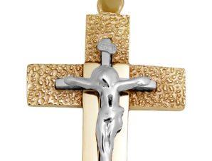 Σταυρός 14Κ από Χρυσό και Λευκόχρυσο SIO53111