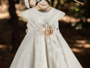 Vinte Li Χειμερινό Φόρεμα Βάπτισης Εκρού-Χρυσό 4903