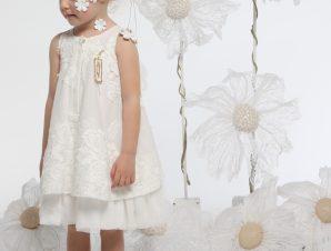 "Baby u Rock Φόρεμα Βάπτισης ""Lemongrass"" Υπόλευκο G05"