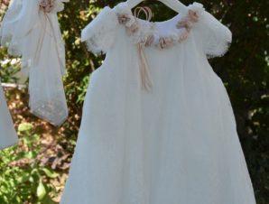 "Piccolino Χειμερινό Φόρεμα Βάπτισης ""Renata"" Ιβουάρ-Μπεζ AWDR19F32B"