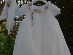 "Piccolino Χειμερινό Φόρεμα Βάπτισης ""Renata"" Ιβουάρ-Σάπιο Μήλο AWDR19F32A"