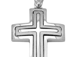 Σταυρός από Λευκόχρυσο 14Κ SIO11303