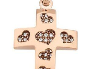 Σταυρός από Ροζ Χρυσό 14Κ με πέτρες και καρδιές SIO11576