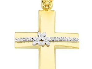 Σταυρός από Χρυσό 14Κ με πέτρες και λουλούδια SIO11876