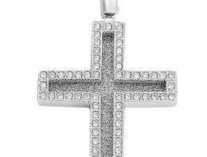 Σταυρός από Λευκόχρυσο 14Κ με πέτρες SIO12344