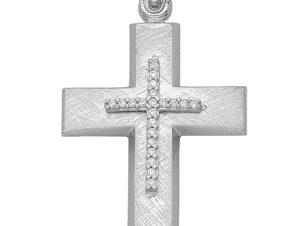 Σταυρός από Λευκόχρυσο 14Κ με πέτρες SIO13789