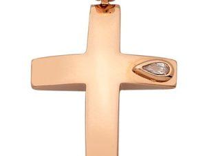 Σταυρός από Ροζ Χρυσό 14Κ με πετρα SIO13919