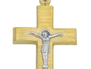 Σταυρός από Χρυσό 14Κ δίχρωμος με Εσταυρωμένο SIO15007