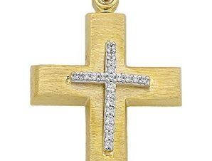 Σταυρός από Χρυσό 14Κ με πέτρες SIO15597