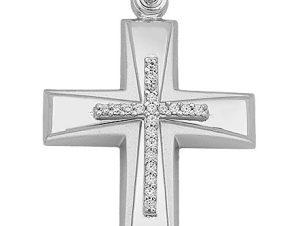 Σταυρός από Λευκόχρυσο 14Κ με πέτρες SIO15827