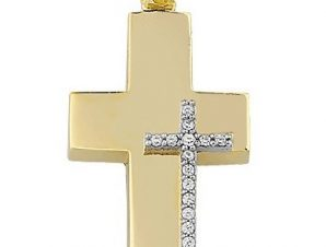 Σταυρός από Χρυσό 14Κ με πέτρες SIO15907
